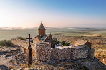 Armenia, Ararat valley, Khor Virap monastery near the border with Turkey and mount Ararat