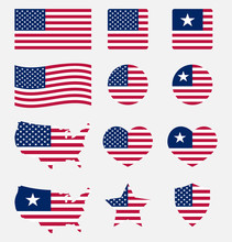 USA Flag Symbols Set, United S...