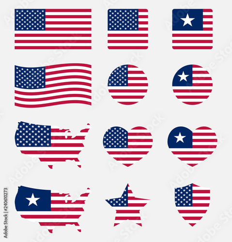 USA flag symbols set, United states of America national flag icons Fotobehang