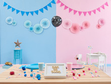Gender Party, Close Up Table, Blue And Pink Wall And Question Mark Ballon.