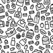 Seamless pattern of bags in doodle style.