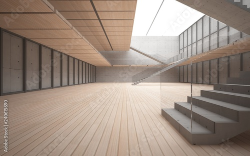 Photo Stands Stairs Abstract concrete and wood interior multilevel public space with window. 3D illustration and rendering.