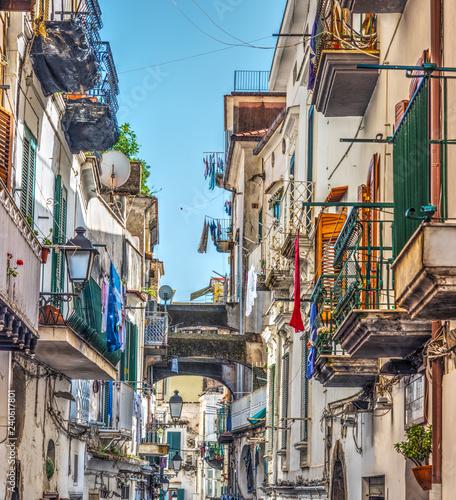 Fototapeten Schmale Gasse Narrow alley in world famous old town Amalfi
