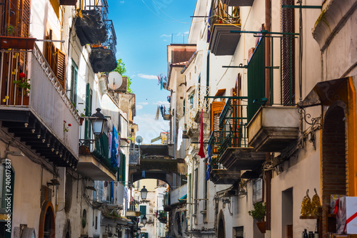 Picturesque narrow alley in world famous old town Amalfi