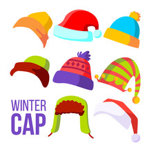 Winter Cap Set Vector. Cold We...