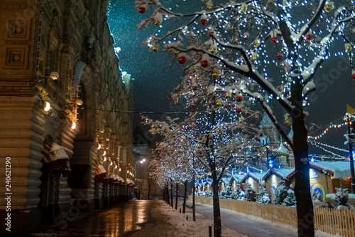 Fototapeten New York evening Moscow before the advent of the new year, Christmas
