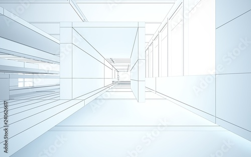 Photo Stands Stairs Abstract drawing white interior multilevel public space with window. 3D illustration and rendering.