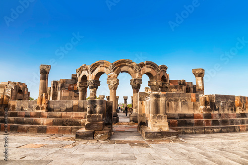 Photo Stands Historical buildings The ruins of a medieval temple of Zvartnots in Armenia