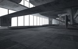 Fototapeta Do przedpokoju - Empty dark abstract concrete smooth interior . Architectural background. 3D illustration and rendering