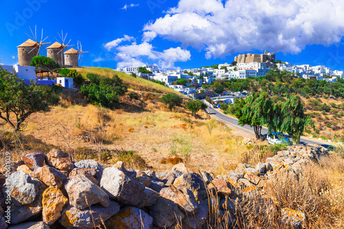 Traditional Greece - Patmos island. View of old windmills and monastrey