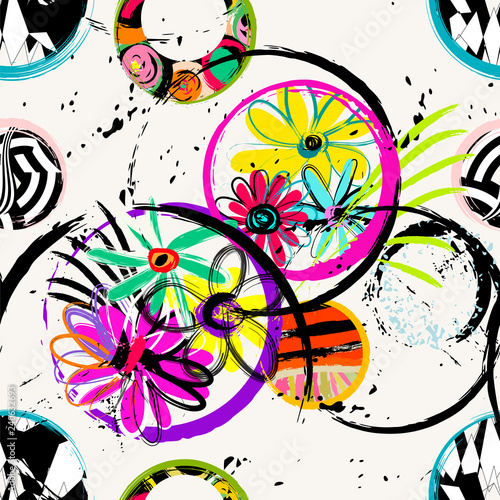 seamless background pattern, with circles, flowers. paint strokes and splashes