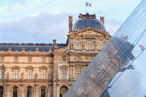 The Museum of Louvre during a cloudy day Poster Mural XXL