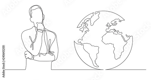 Fotografía  man thinking about global issues - continuous line drawing