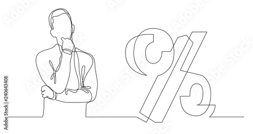 Fototapeta man thinking about mortgage interest rate - continuous line drawing obraz