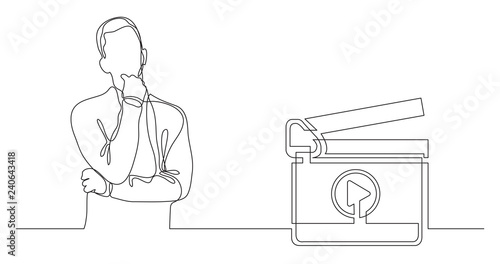Fotomural man thinking about movies - continuous line drawing