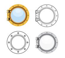 Porthole In Flat Style. Vector Set Illustration Isolated On White