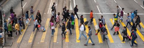 People crossing street in Hong Kong 横断歩道を渡る人々 香港  - 240645630
