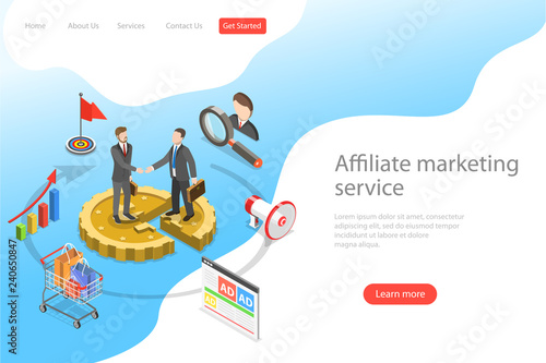 Flat isometric vector landing page template of affiliate marketing, business strategy, referral program, partnership Canvas Print