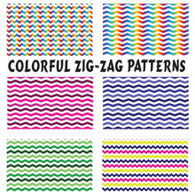 Patterns-6 Colorful Zig-Zag Seamless Patterns