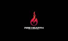 Hearth Fire Logo Designs Concept, Fire Love Logo Designs Template, Fire And Love Logo Symbol - Vector