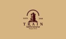 Retro Train, Vintage Vector Symbol, Emblem, Label Template - Vector