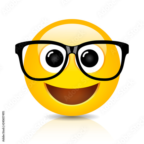 Fotografie, Obraz  Happy nerd emoji