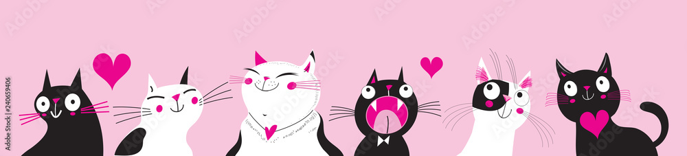 Fototapeta Festive vector greeting card with funny cats in love