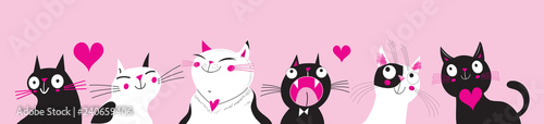 Fotografia, Obraz Festive vector greeting card with funny cats in love