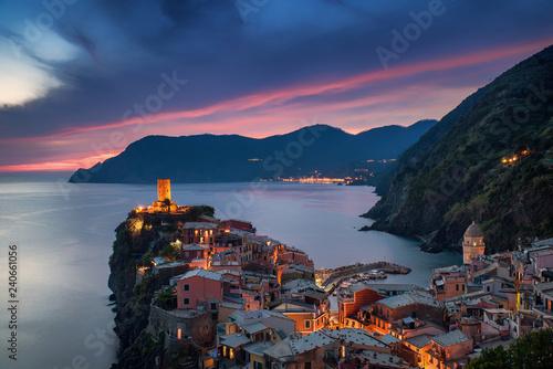 Poster Bleu nuit Vernazza, Liguria, Italy