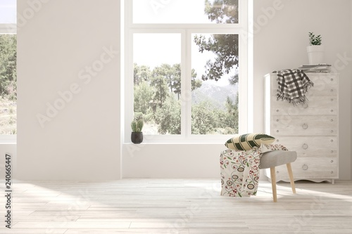 White empty room. Scandinavian interior design. 3D illustration Fototapeta