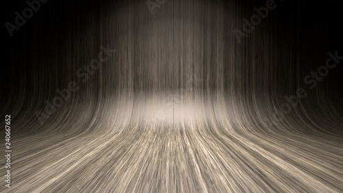 Empty wooden studio curved floor dark background Canvas-taulu