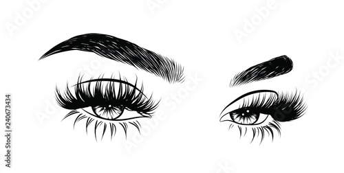 Valokuva  Abstract fashion illustration of the eye with creative makeup
