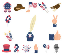 Day Of Patriot, Holiday Cartoon Icons In Set Collection For Design. American Tradition Vector Symbol Stock Web Illustration.