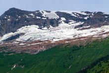 Snowy Mountain Peak Across Kinbasket Lake Near Valemount, British Columbia, Canada