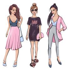 Stylish Girl In Fashion Clothes. Hand Drawn Beautiful Girl.