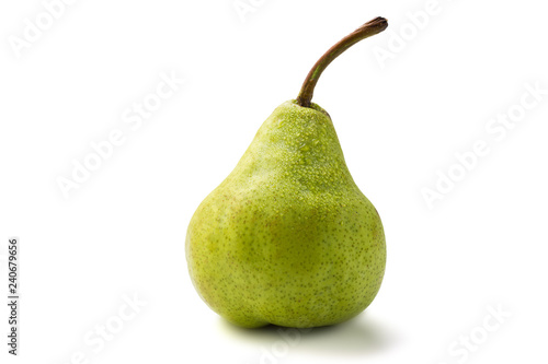 Juicy green packham pear on white with drops.