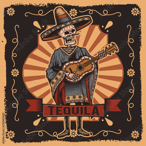 Stampa su Tela Vector label with a skeleton with a guitar in his hands. Tequila