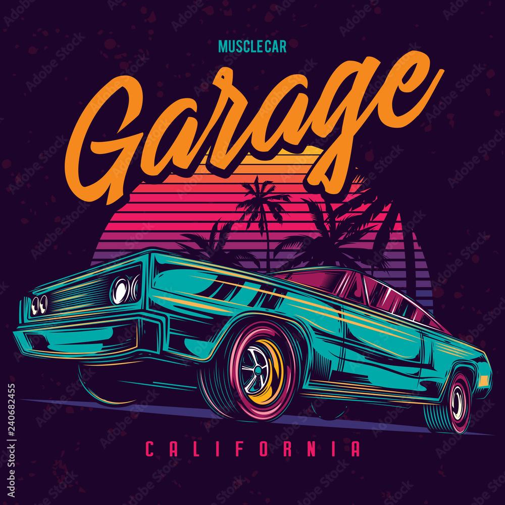 Fototapeta Original vector illustration of an American muscle car in retro neon style.
