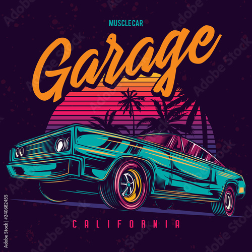 Fototapeta Original vector illustration of an American muscle car in retro neon style. obraz