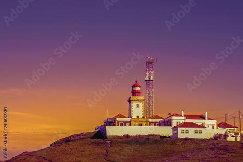 Plakat Ładny widok latarnia morska na wieczór nieba tle. Cabo da Roca, Portugalia