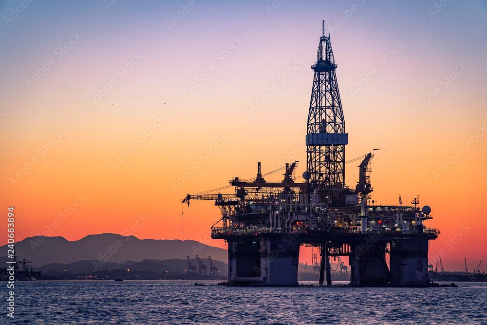 Obraz Oil Platform in Guanabara Bay fototapeta, plakat