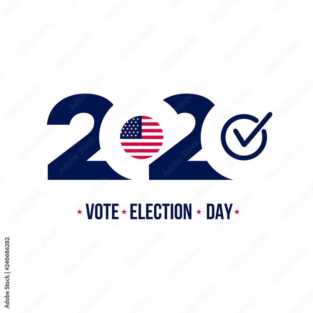 Fototapety, obrazy: 2020 United States of America Presidential election. Design logo. Vector illustration. Isolated on white background.