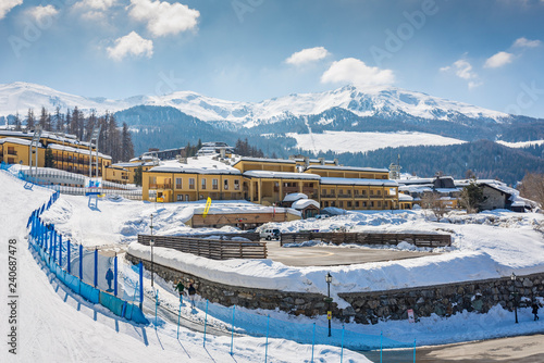 Fotografiet winter landscape with frozen mountains