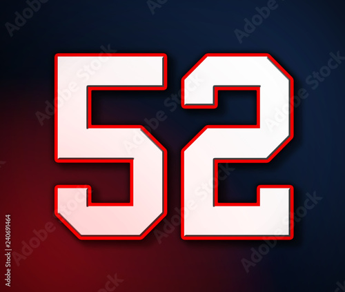 Papel de parede  American Football Classic Vintage Sport Jersey Number 52 in white, red and blue