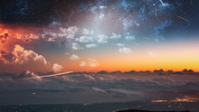 Futuristic Photo Landscape With Trails Of Spaceships And Sky Full Of Stars