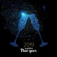 Nowy Rok 2019 niebieska świecidełka szklana karta tosty