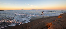 Fly Fisherman At Sunrise At Santa Clara River Tidal Inlet At McGrath State Park In Ventura California United States