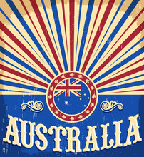 Australia Vintage Patriotic Poster, Vector Design, Australia Holiday Decoration