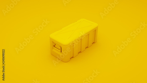 Photo Yellow metal case. 3D render