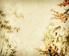 Bamboo And Plum Blooming On Old Grunge Paper Texture Background